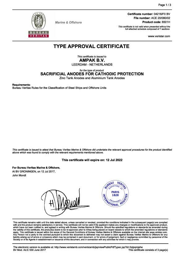 Veritas AMPAK Tank anode certificate